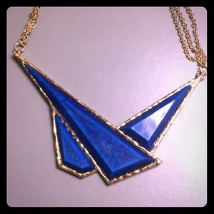 Amrita Singh Blue Lapis Geo Triangle Bib Necklace